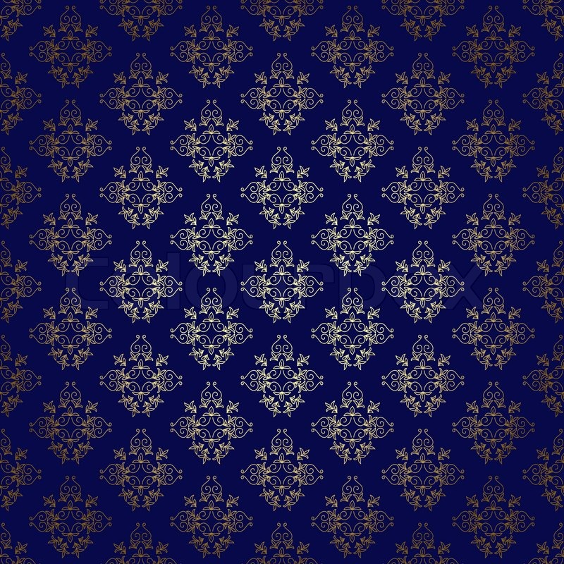 Dark Blue Seamless Background With Gold Stock Image