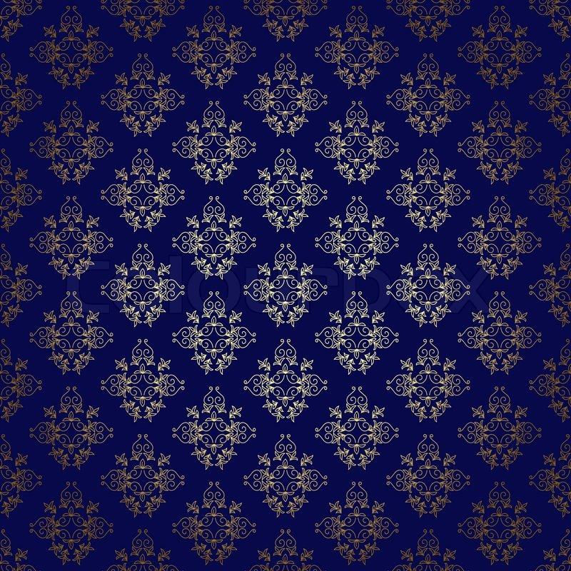 Dark Blue Seamless Background With Gold ...