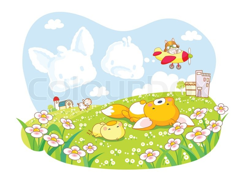 cute cartoon animals squirrel and chicks in the garden stock