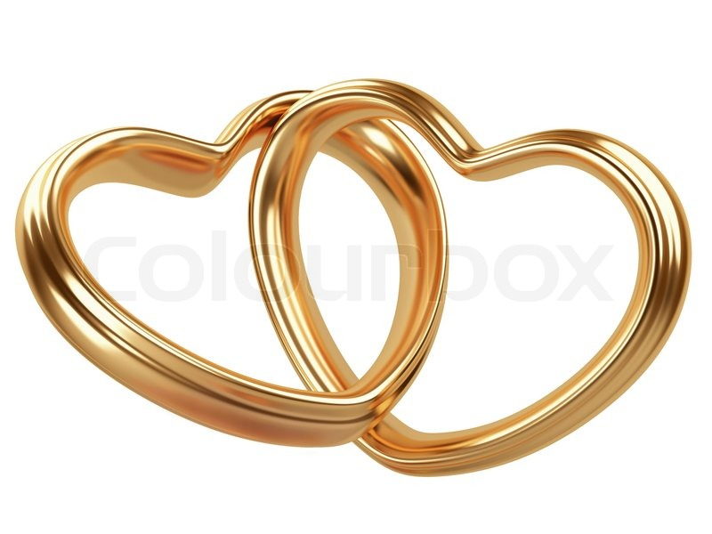 Two Golden Hearts Shape Isolated On A White Background