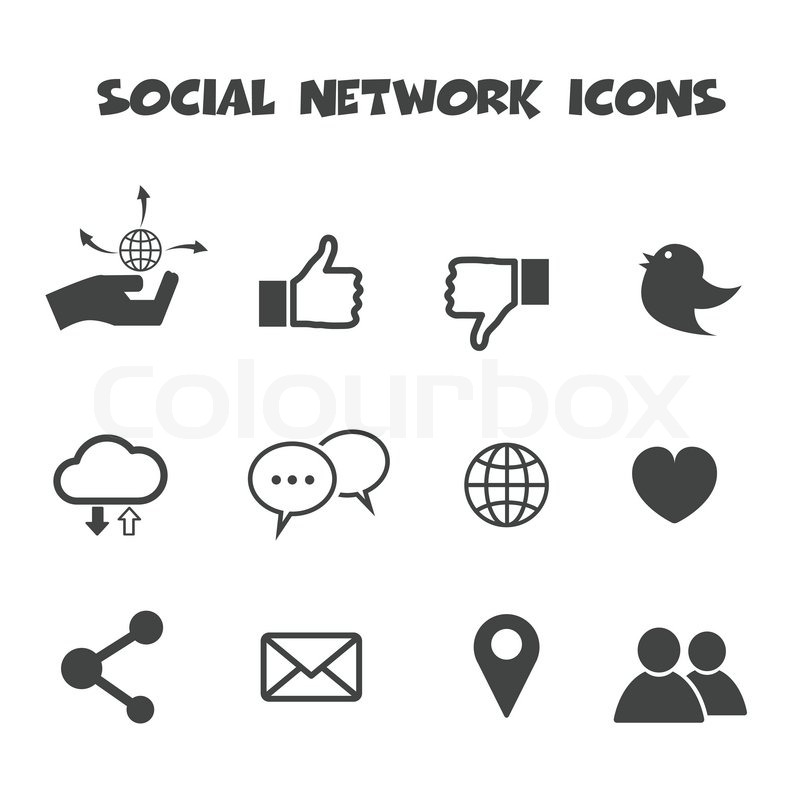 Social Network Icons Mono Vector Symbols Stock Vector Colourbox