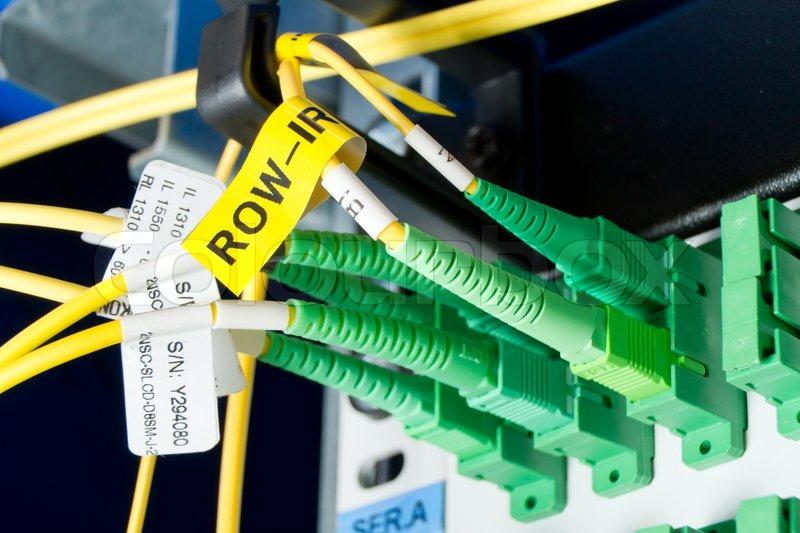 Optic fiber hub as part of internet infrastructure, stock photo
