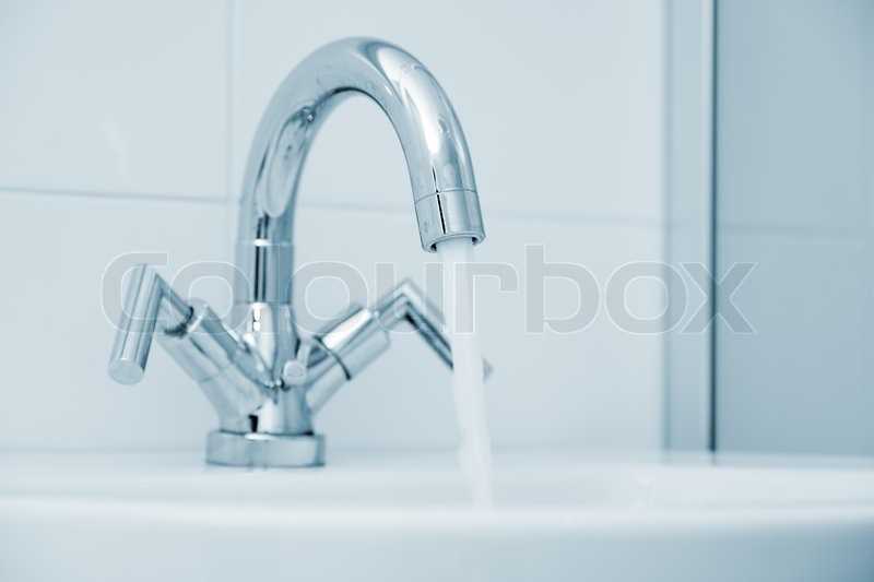 Open water faucet, stock photo