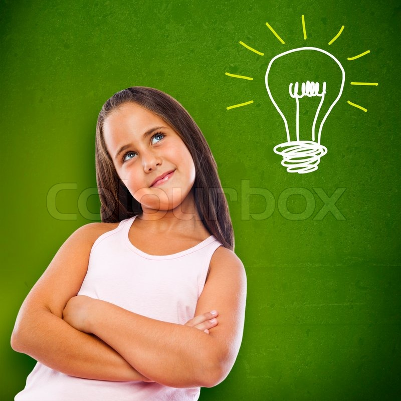 Little girl thinking about her future, stock photo