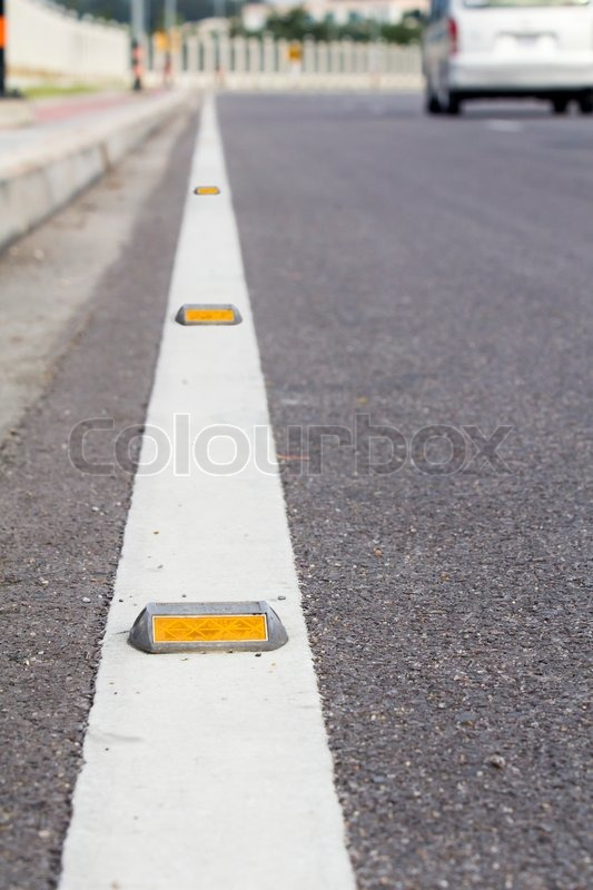 Road Stud Or Cat S Eye Road Marking Stock Image Colourbox