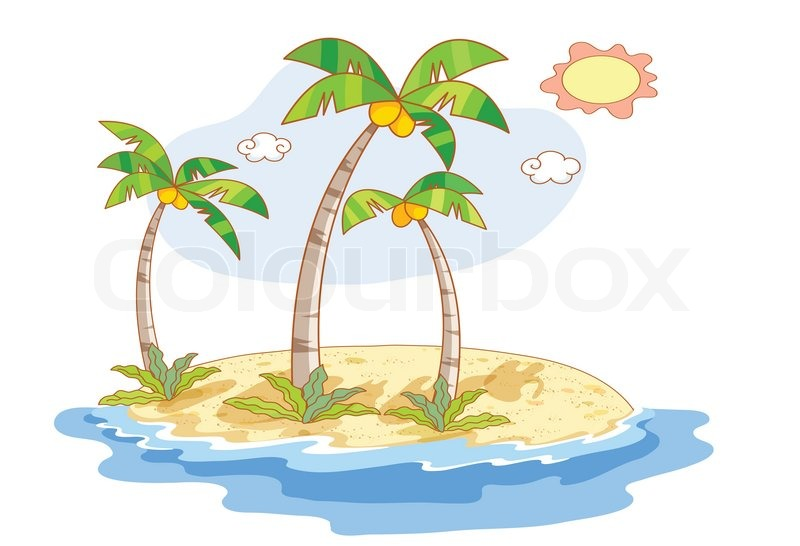 Beautiful landscape beach with coconut trees, vector
