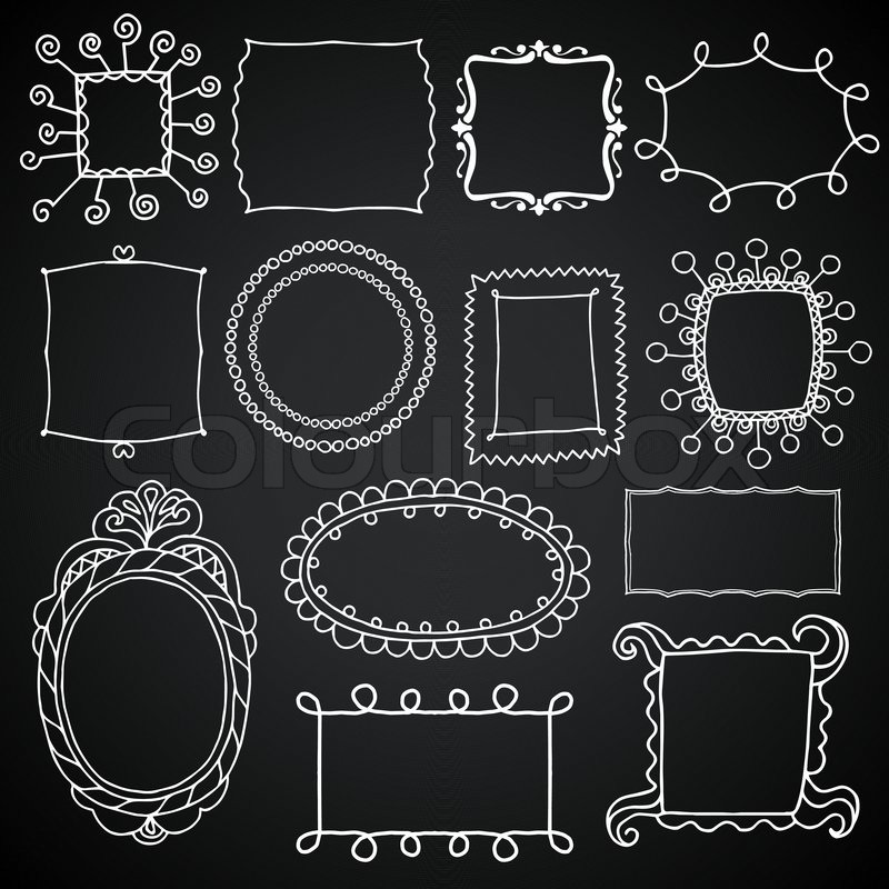 vintage photo frames set chalkboard vector design elements drawing