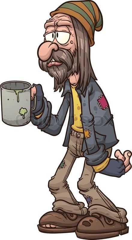 Cartoon beggar. Vector clip art illustration with simple ...