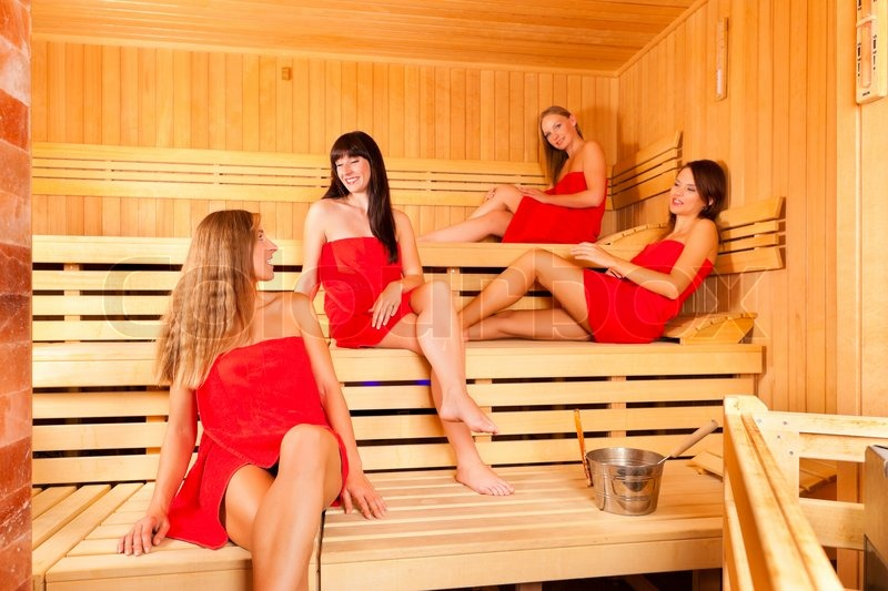 African beauty in sauna