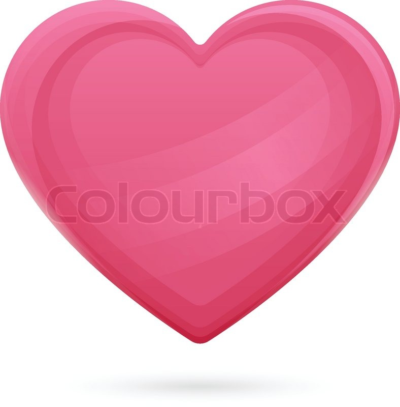 Large Pink Heart With Highlights And Shadows Below On A White