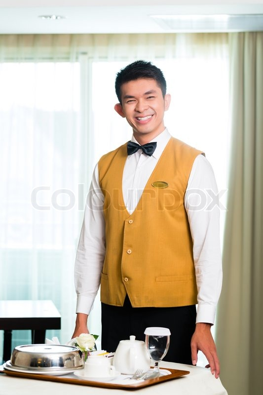 Asian Chinese Room Service Waiter Or Stock Image Colourbox