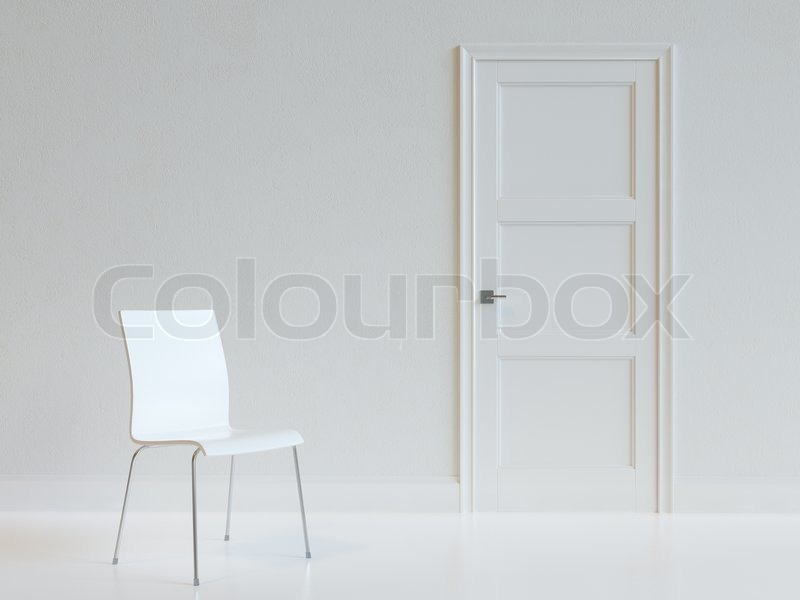 Empty White Room Interior With Chair Abstract Architecture Background