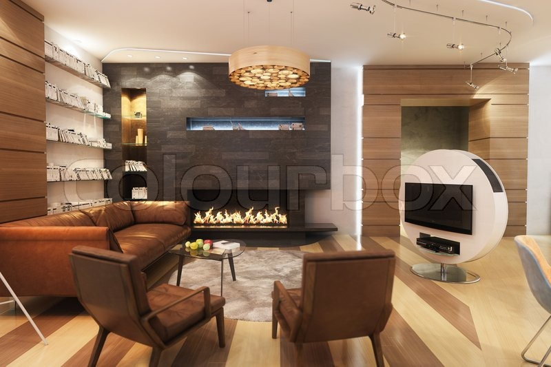 Living Room With Leather Sofa And Armchair Near The