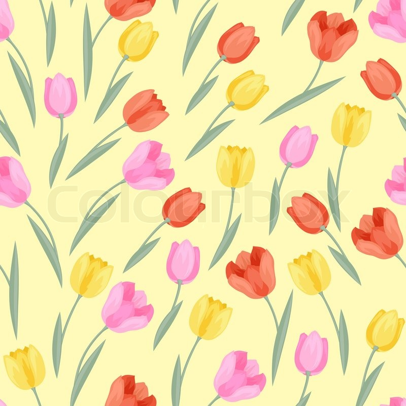 Spring flowers tulips natural seamless pattern, vector