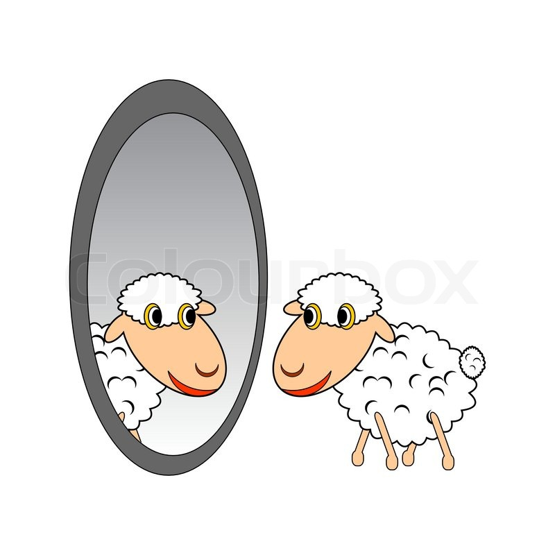 A funny cartoon sheep looking at itself in a mirror for Spiegel cartoon