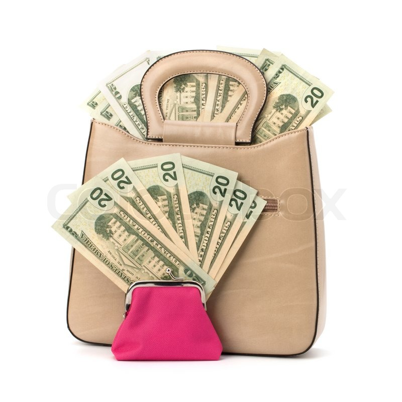 Glamour handbag full with money isolated on white ...
