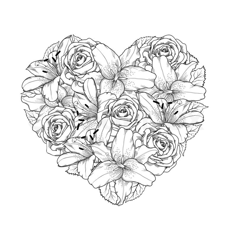 Beautiful heart decorated by flowers roses and lilies of black and beautiful heart decorated by flowers roses and lilies of black and white color symbol of a holiday of a st valentines day stock vector colourbox mightylinksfo