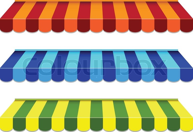 Set Of Striped Awnings Stock Vector Colourbox