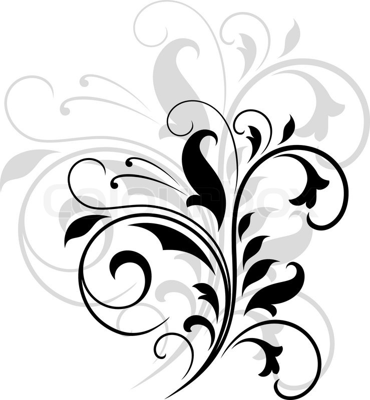 Elegant Black And White Swirling Stock Vector Colourbox