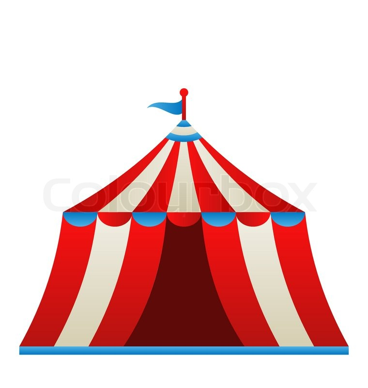 Illustration Open Circus Stripe Tent Isolated On White
