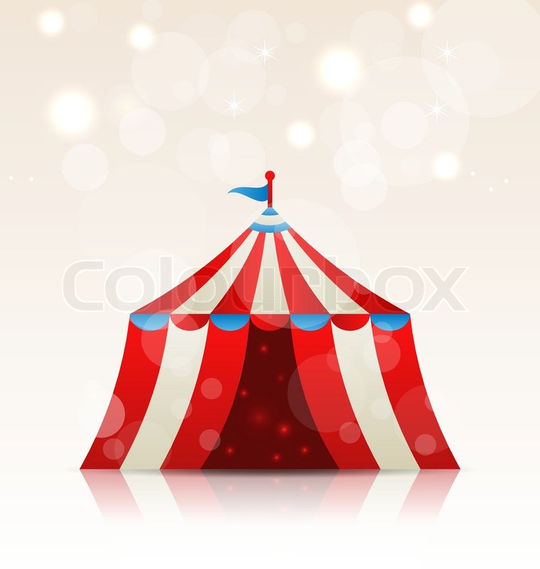 Open circus stripe entertainment tent & Illustration vintage carnival poster for your advertising - vector ...