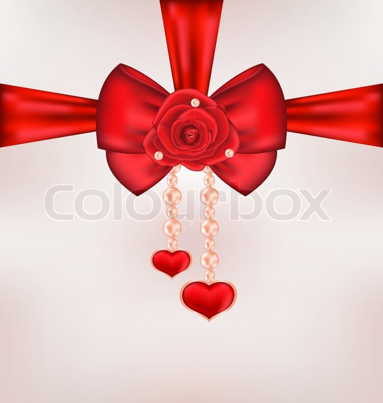 Illustration Red Bow With Rose Heart Stock Vector