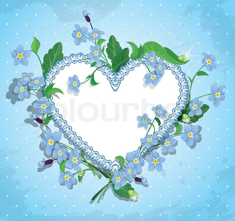 Bouquet Of Beautiful Forget Me Not Flowers And Lace Heart On Blue Polka Dot Background Design