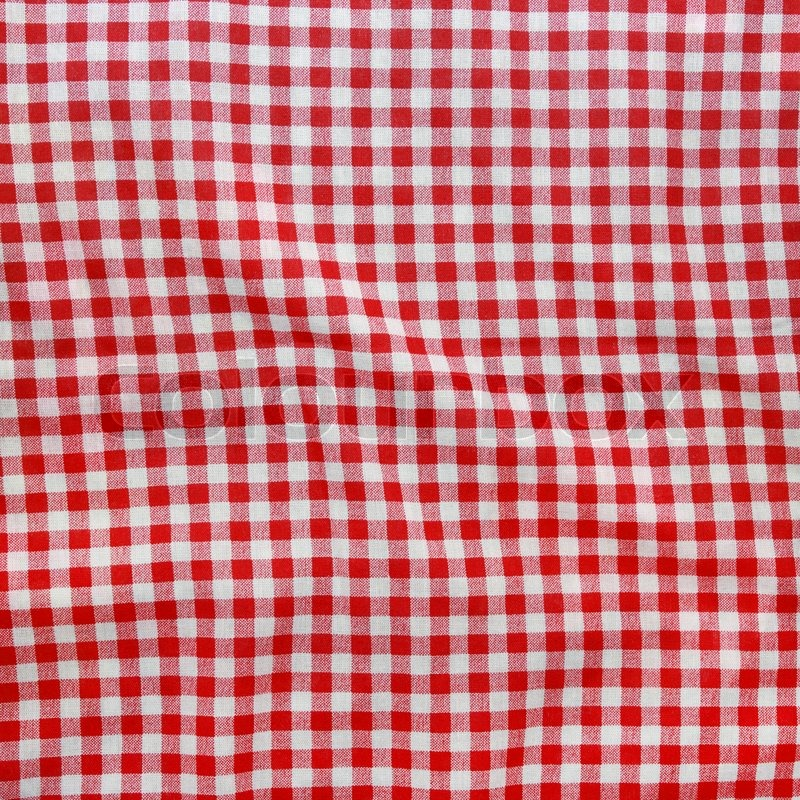 Texture of a red and white checkered picnic blanket. Red ...