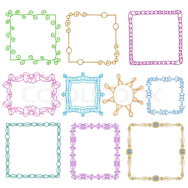Vintage photo frames set, scrapbook design elements, drawing doodle ...