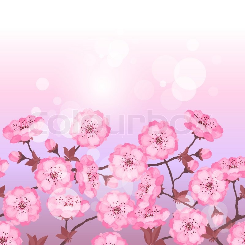 Spring Sakura Flowers Seamless Pattern Horizontal Border