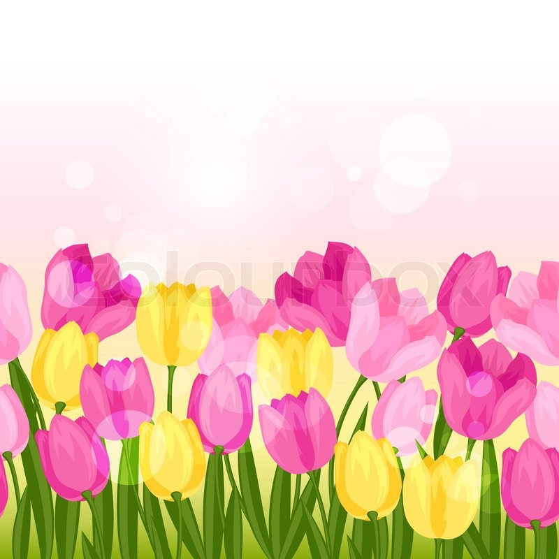 Spring Flowers Tulips Seamless Pattern Stock Vector Colourbox