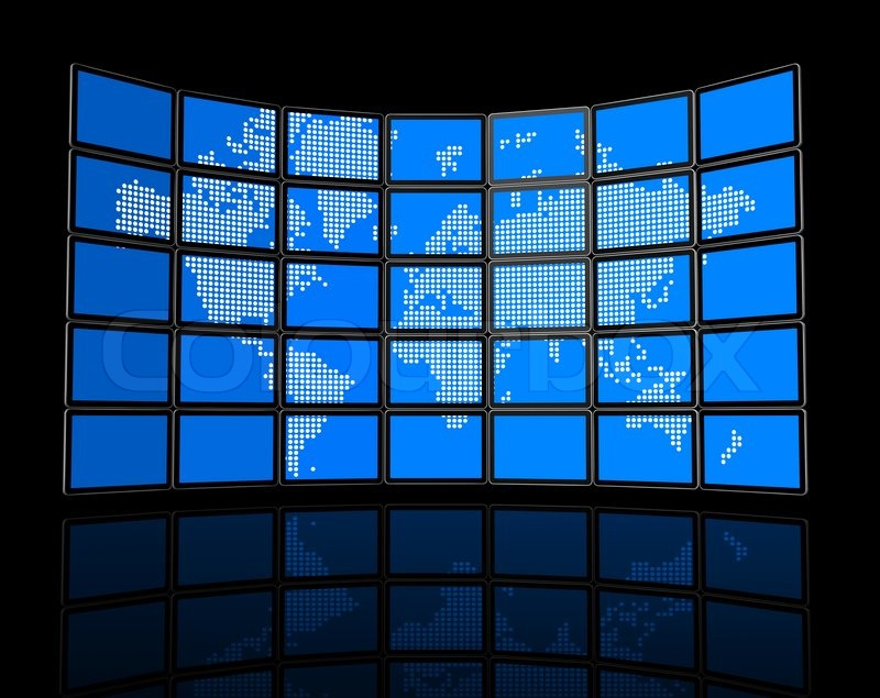 3d video wall of flat tv screens with world map isolated on black 3d video wall of flat tv screens with world map isolated on black with 2 clipping paths global scene clipping path and screens clipping path to place gumiabroncs Image collections
