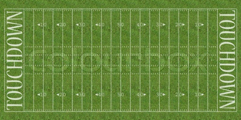 an overhead view of an american football field with white markings