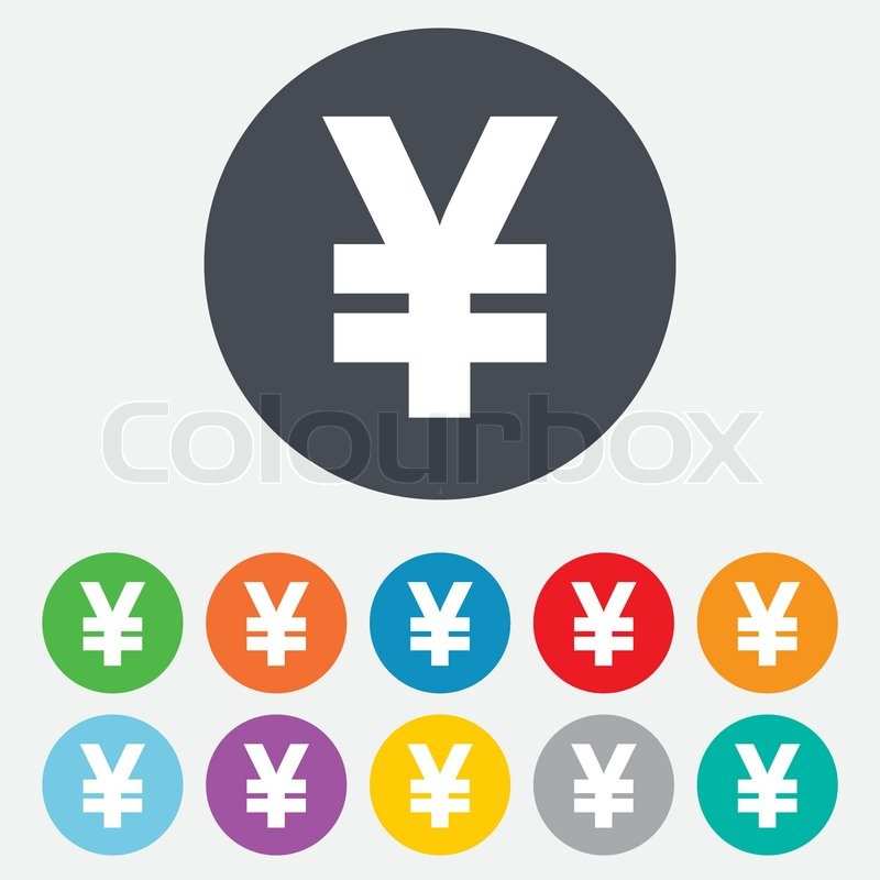 Yen Sign Icon Jpy Currency Symbol Money Label Round Colourful 11