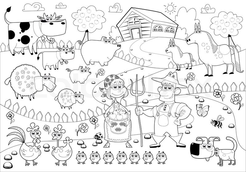 Funny Farm Family In Black And White Cartoon Vector Illustration