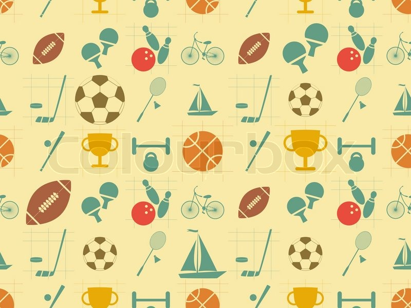 seamless background sports in retro style flat design vector