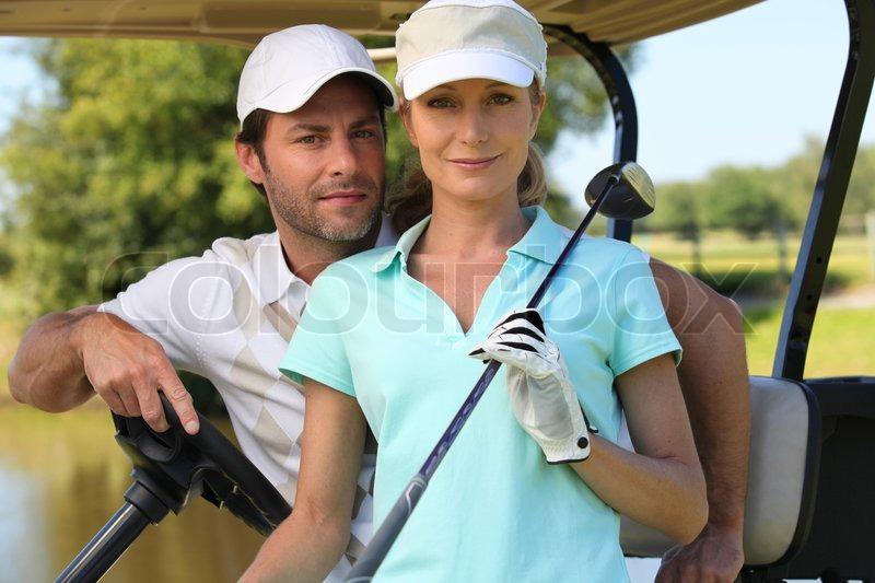 Couple game golf, stock photo
