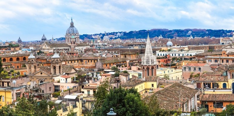 Panoramic view over the historic center of Rome, Italy, stock photo