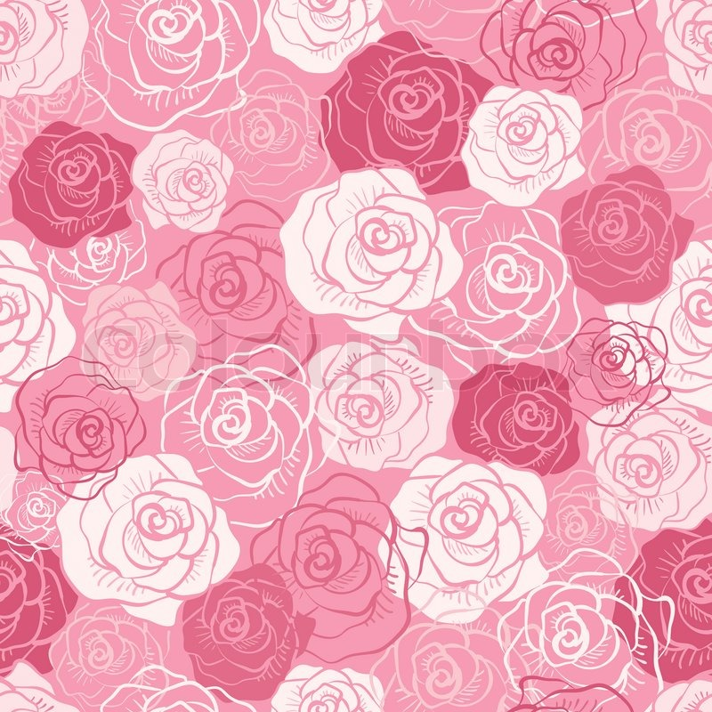 Rose Vector Seamless Pattern Pink Red White Shabby Colors Floral Endless Texture Can Be Used