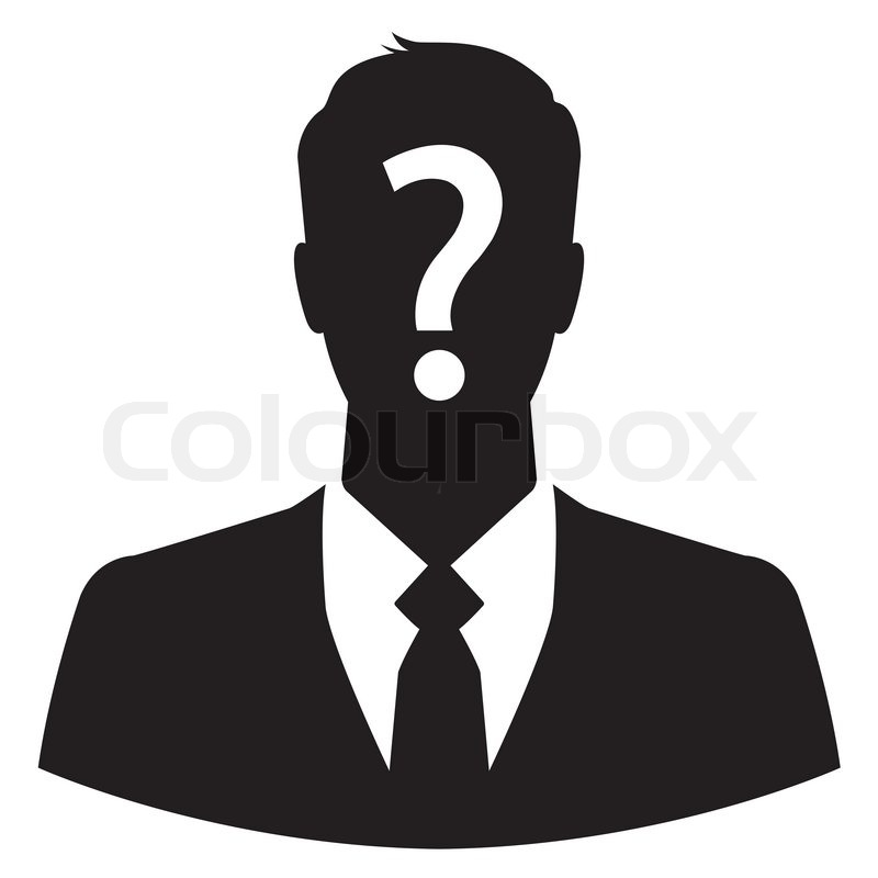 Businessman Avatar With Question Mark On His Head Stock