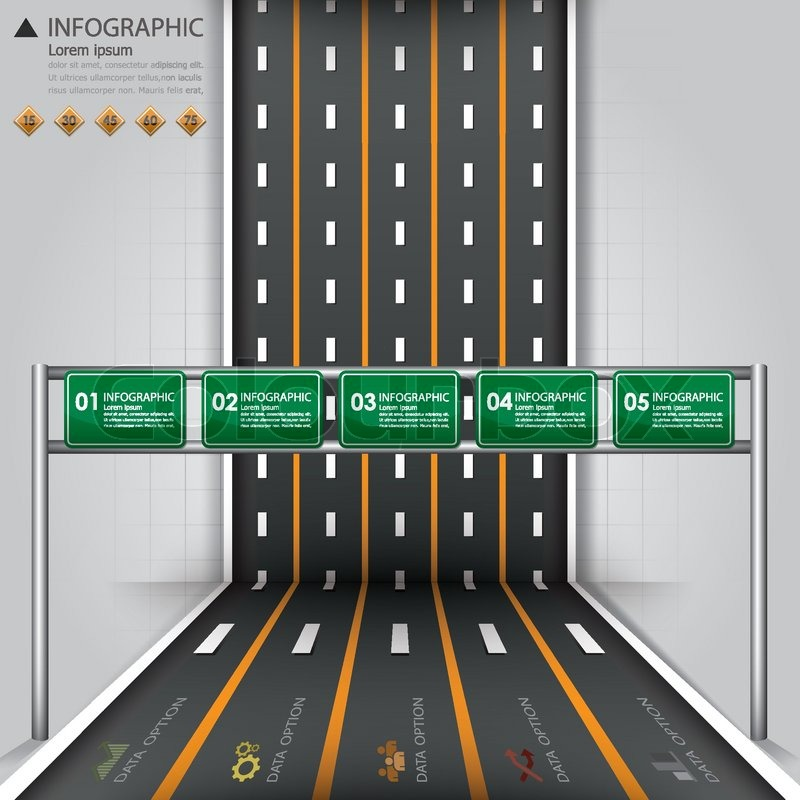 Street Road Traffic Sign Business Infographics Design Template on Street Design Diagram
