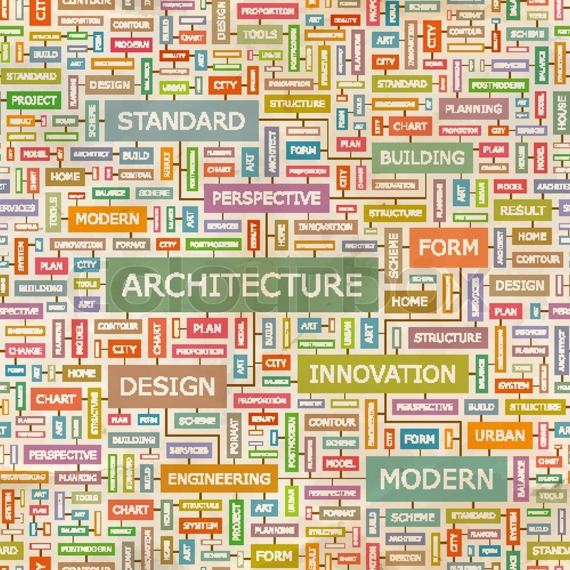 Architecture Seamless Pattern Concept Related Words In Tag Cloud