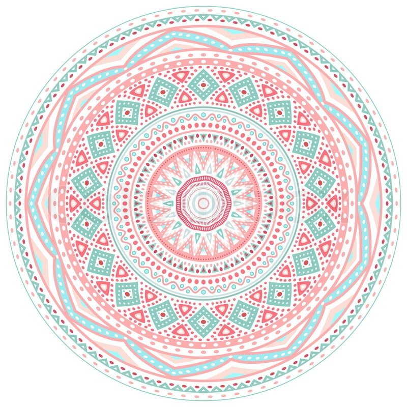 Decorative Pink And Blue Round Pattern Frame On White
