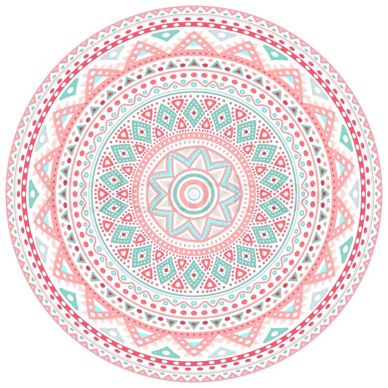 Decorative Pink And Blue Round Pattern Stock Vector