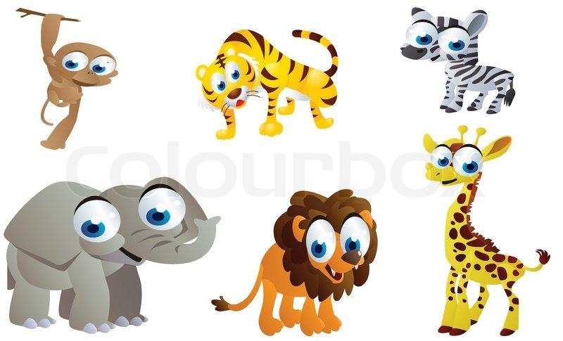 Cute Safari Animals Cartoon Stock Vector Colourbox