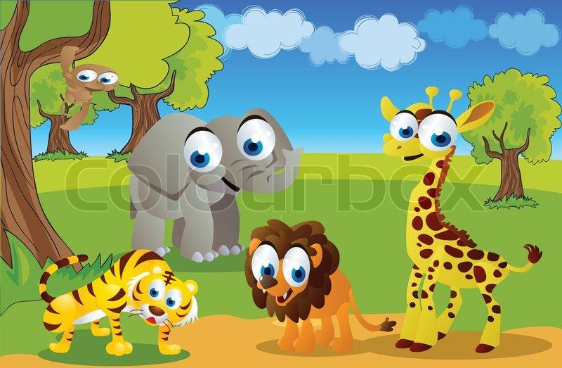 Safari Animals Cartoon In The Zoo Stock Vector Colourbox
