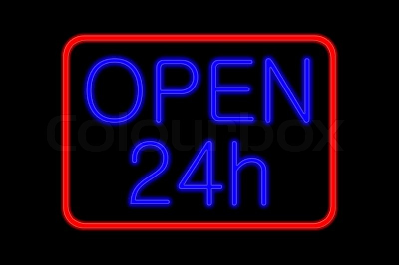 A neon orange OPEN sign glowing in the window of a restaurant ...