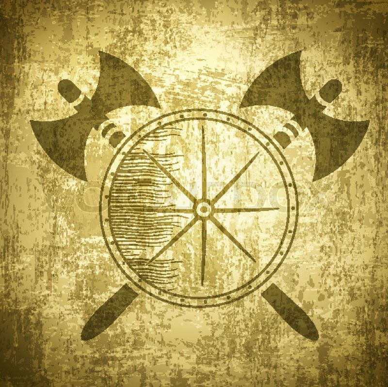 vintage viking grunge background with axes and shield