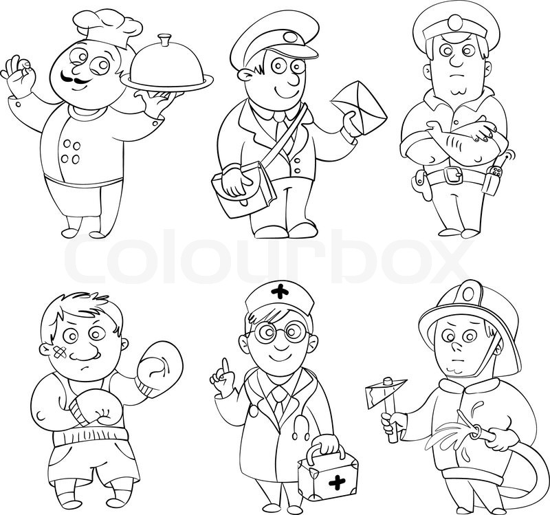 ProfessionsCook Postman Policeman Boxer Doctor Fireman Coloring Book Vector Illustration Isolated On White Background