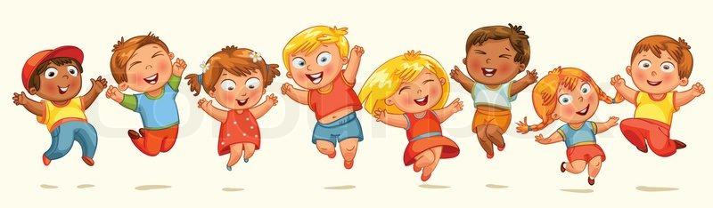 Children Jump For Joy Banner Vector Illustration Isolated On White Background
